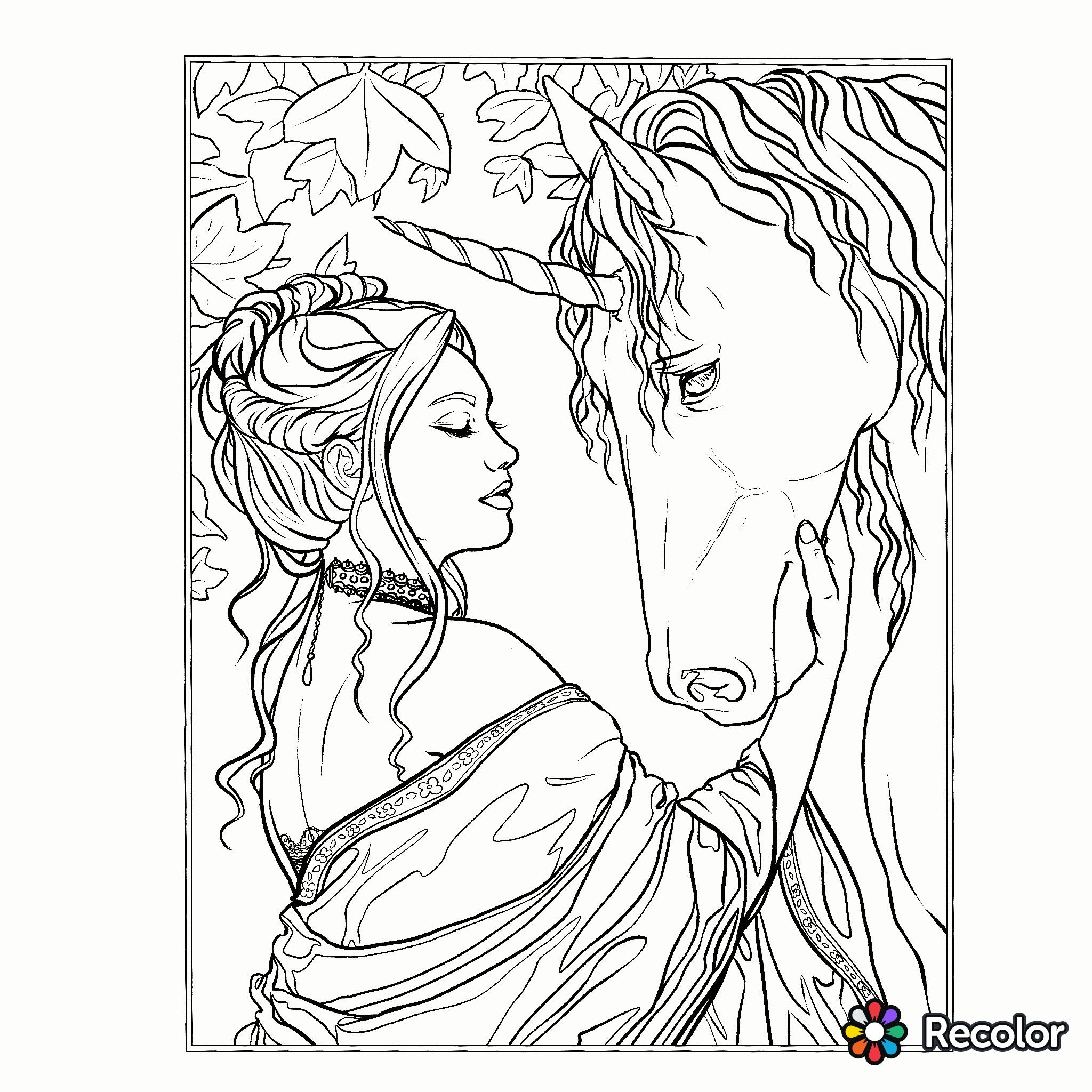 Unicorn coloring page | Fantasy Coloring Pages for Adults ...