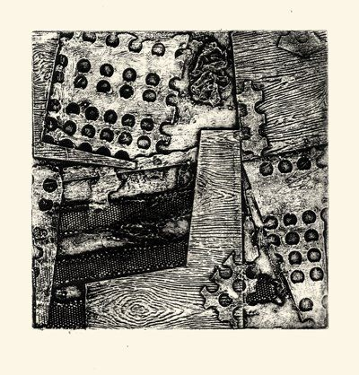 Amy Chapman Collagraph print over collage | art - collage mixed ...