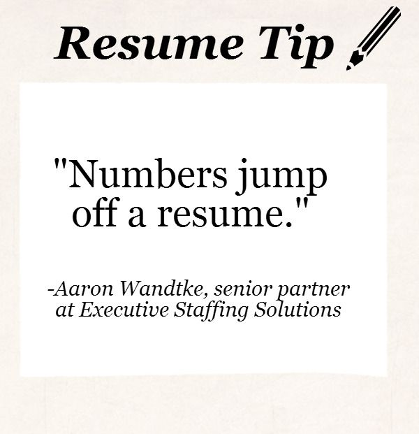 resume tip tuesday hiring managers love to see numbers