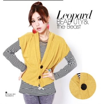 Korean 2-peice long-sleeved striped Top Yellow