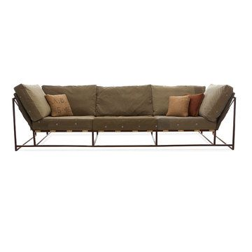 I love this steel welded sofa. MCM with a masculine vibe. The price, not so much.