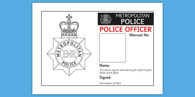 Police Identity Badge Role Play Template  People Who Help Us