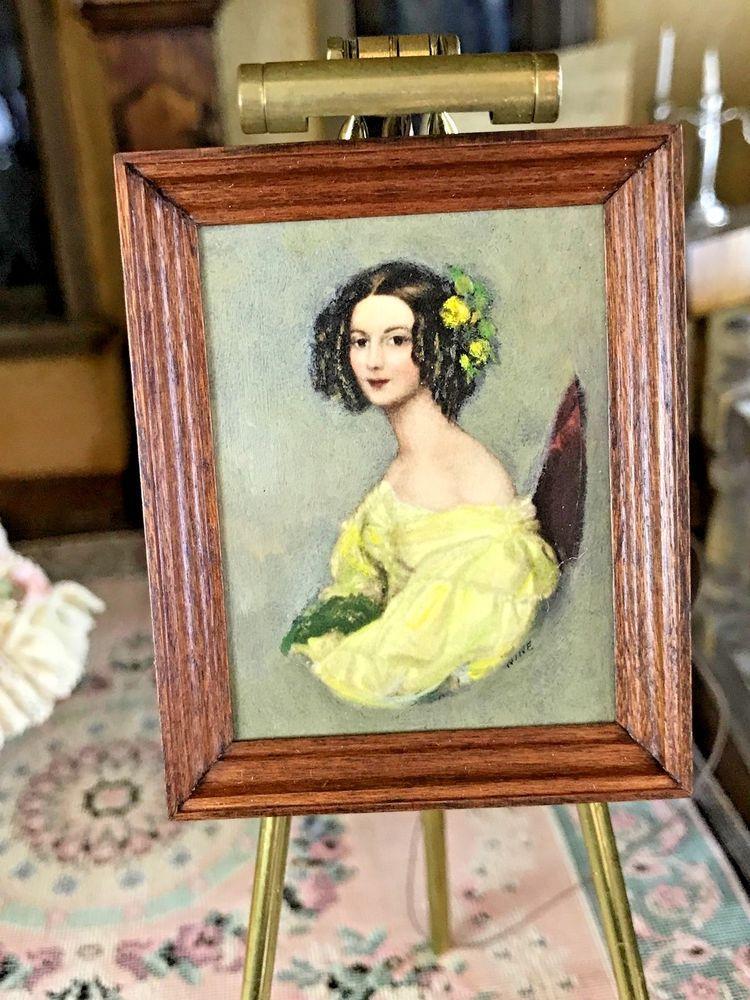 1//12 Dollhouse Miniature Artist Easel /& Vintage Mural Painting Photo Frame