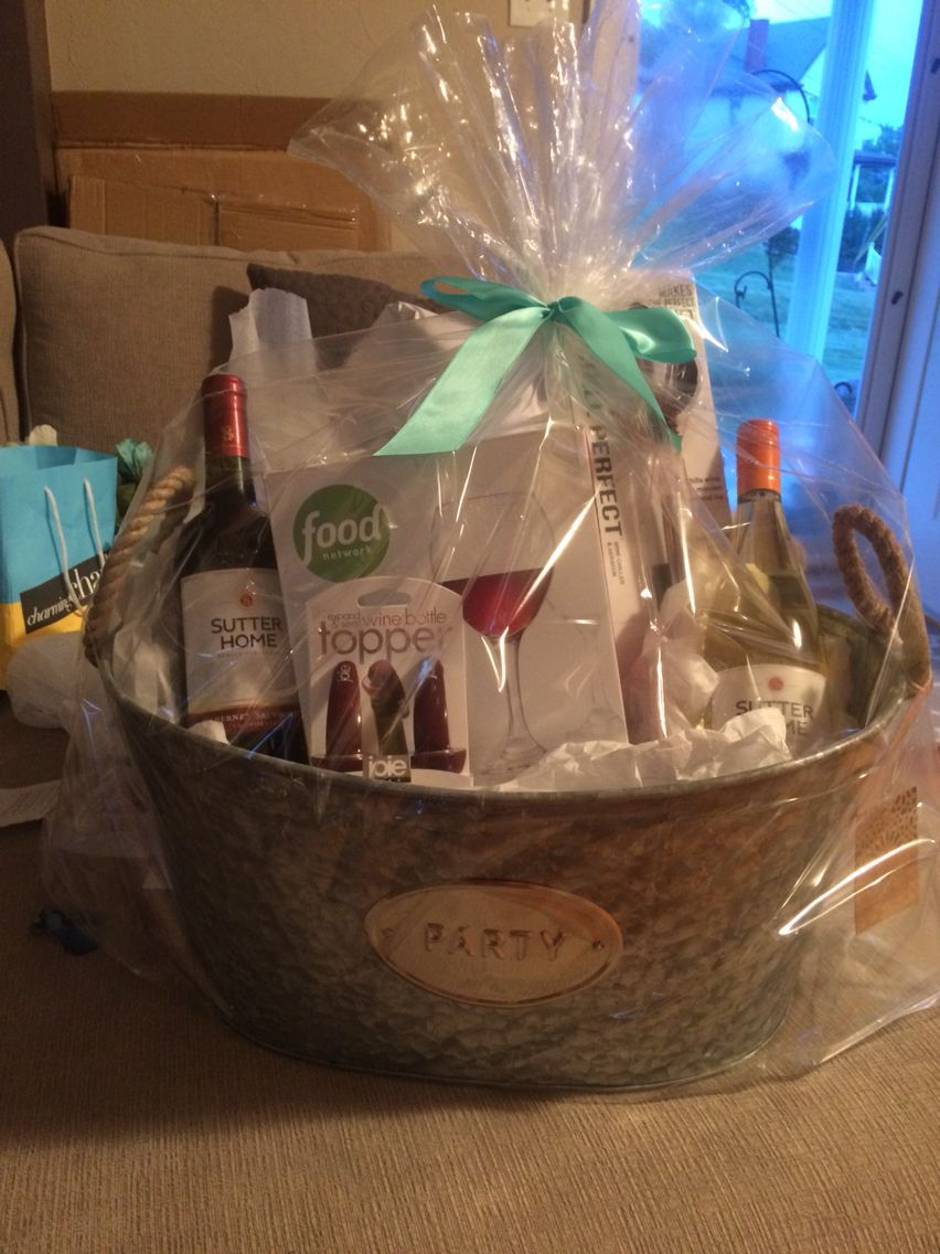 homemade wine basket bridal shower prize for about 40