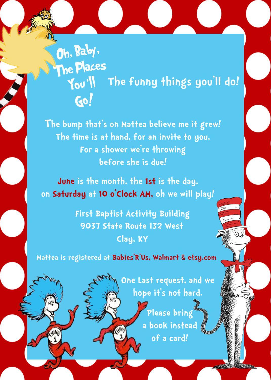 Dr Seuss Baby Shower Invitation by HookedonLove12 on Etsy, $45.00 ...