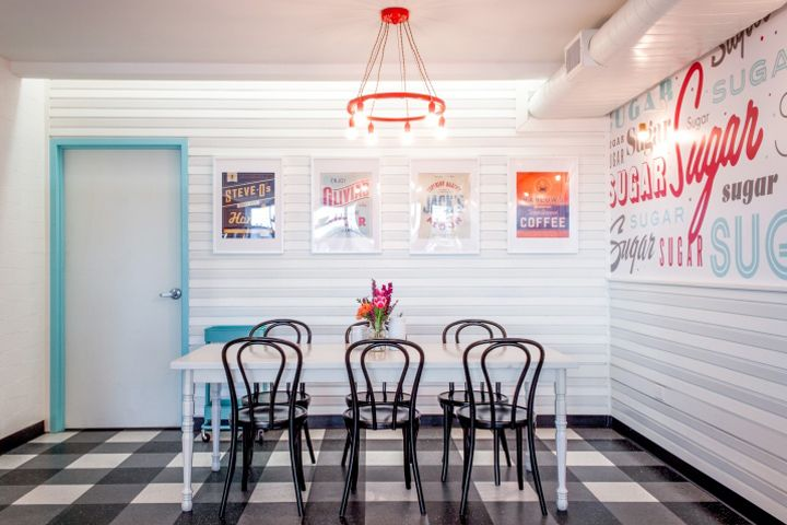 Sugar Mamau0027s Bakeshop In East Austin By Allison Burke Interior Design.  Gingham Pattern VCT Floor, White Wood Paneled Walls, Custom Wallpaper,  Viennu2026