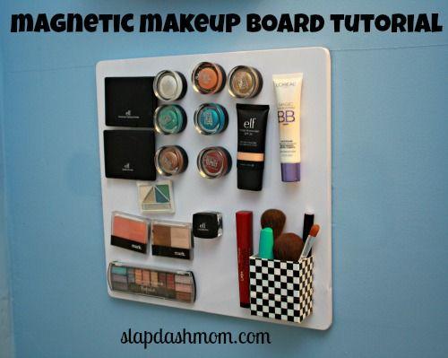 Magnetic Makeup Board Tutorial #DIY #getorganized
