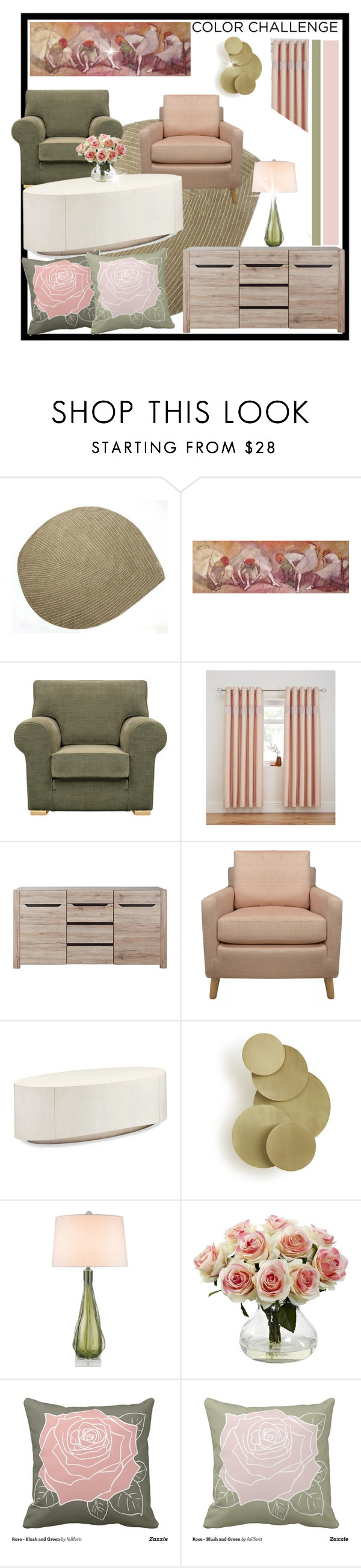"""""""Green and Blush"""" by fallforit ❤ liked on Polyvore featuring interior, interiors, interior design, home, home decor, interior decorating, nanimarquina, Zephyr, Nearly Natural and colorchallenge"""