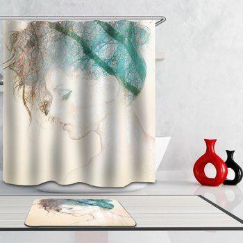 High Quality Waterproof Pretty Lady Pattern Printing Shower