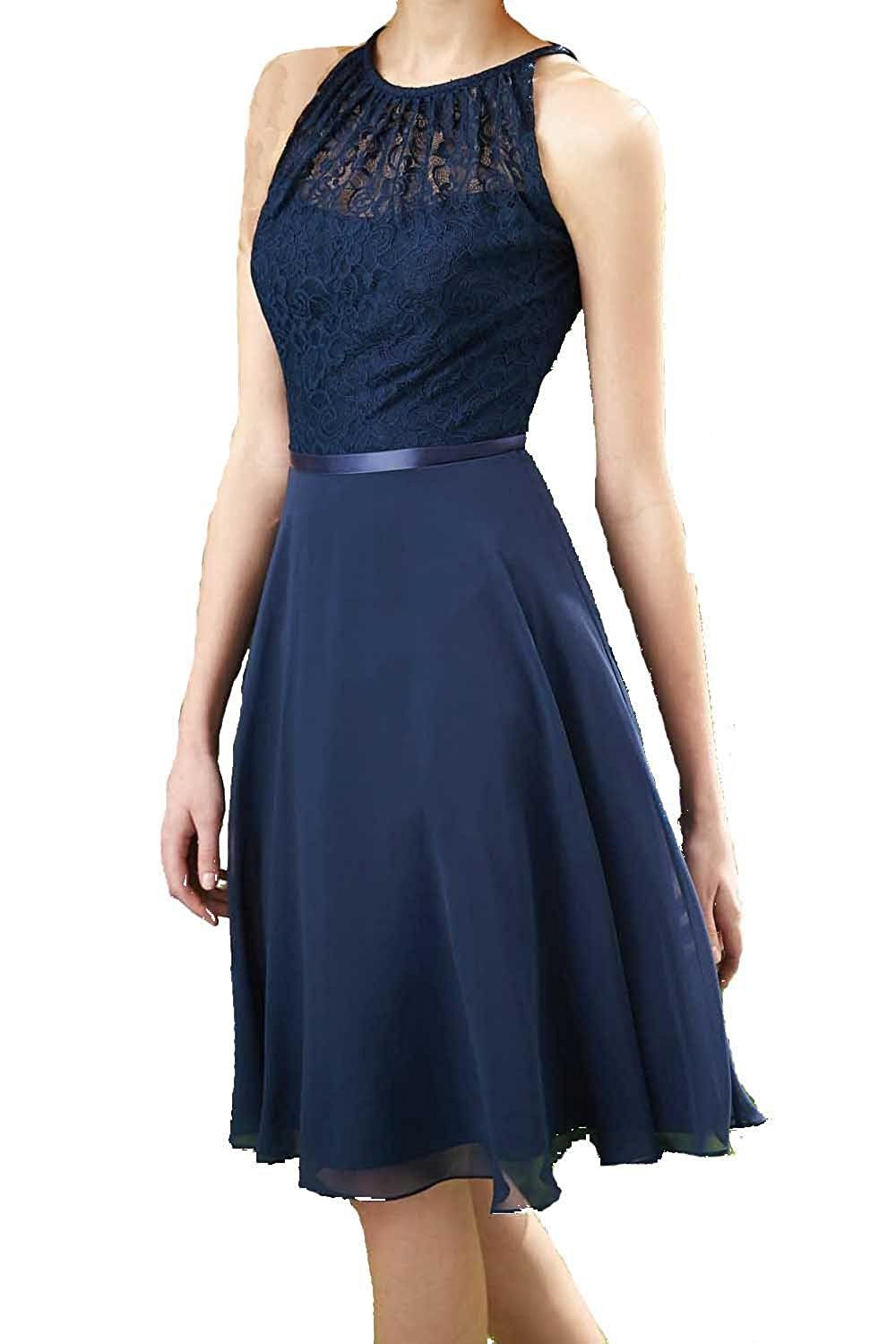 Womenus navy blue halter lace chiffon bridesmaid dress party gown