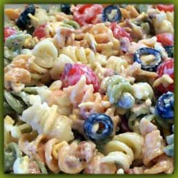 Bon Appétit: Bacon Ranch Pasta Salad. Update:  I made it for a BBQ I threw this weekend and it was a big hit!  I left out the shredded cheese since I thought it would have made it too rich.  I'll definitely be making it again.