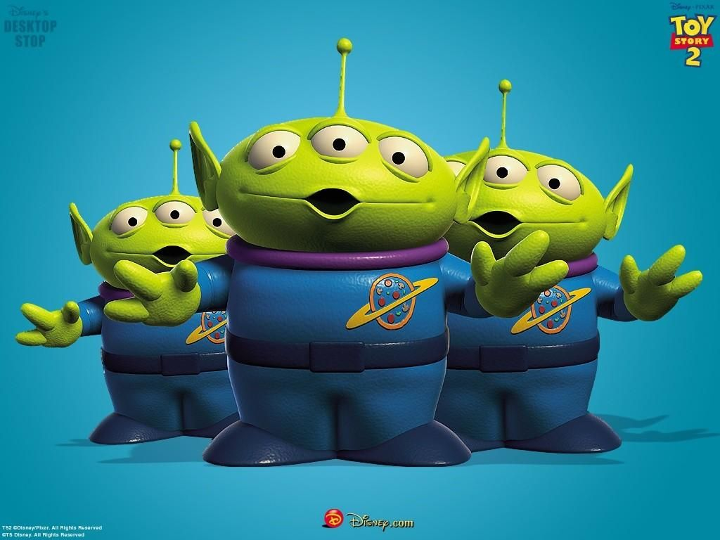 A Desktop Wallpaper Featuring The Little Green Men Aliens From Disney Pixar Toy Story Movies X 768 Pixels