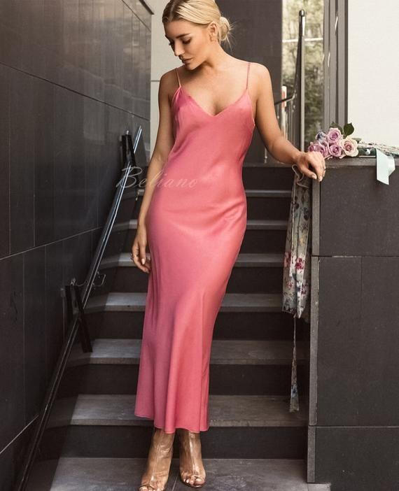 bfd3bd7900d Silk Slip coral Dress