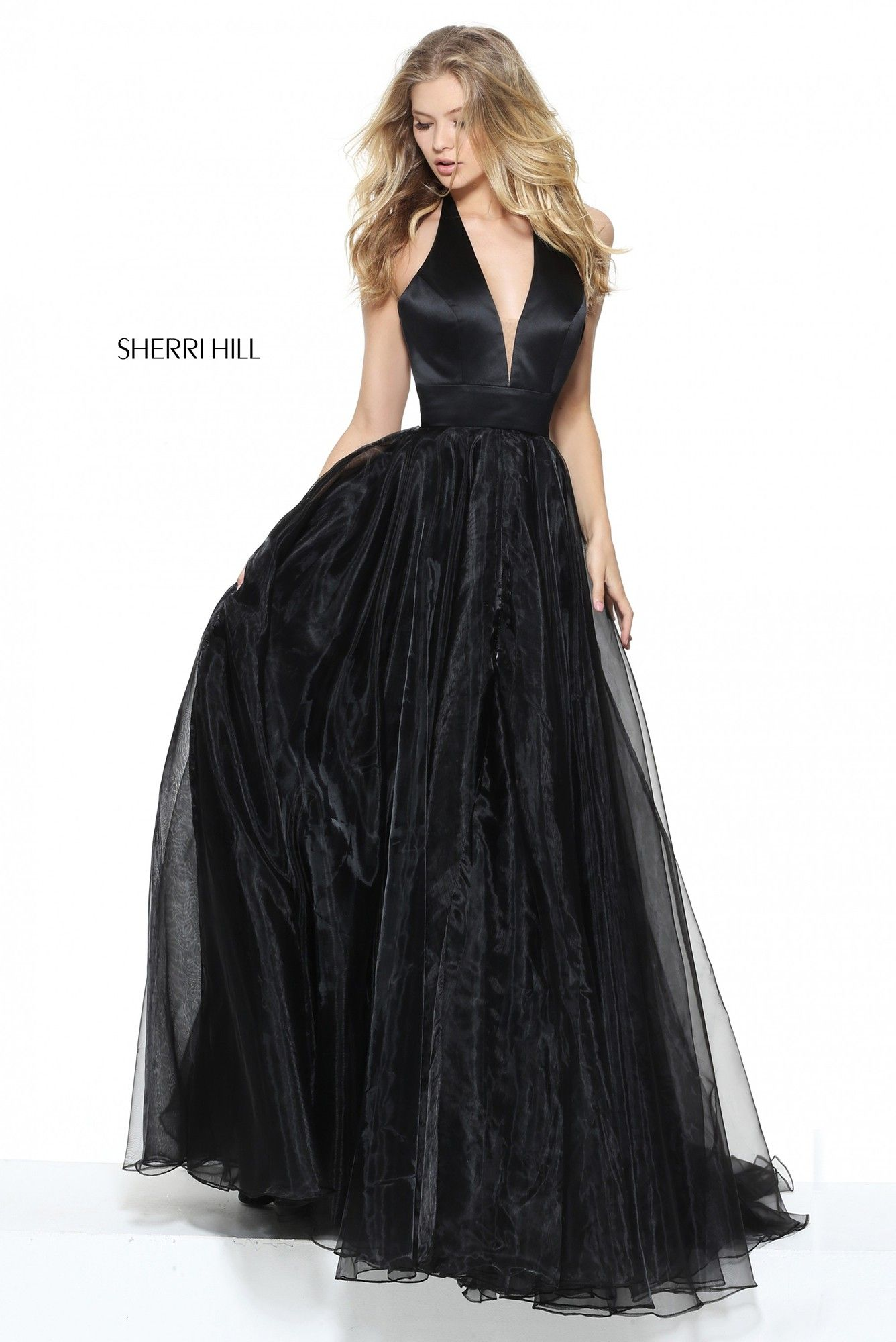 9a4305caf03a2 Go with the flow in Sherri Hill 50834. The satin bodice has an illusion  plunge halter neckline with sheer panel and defined waistband.