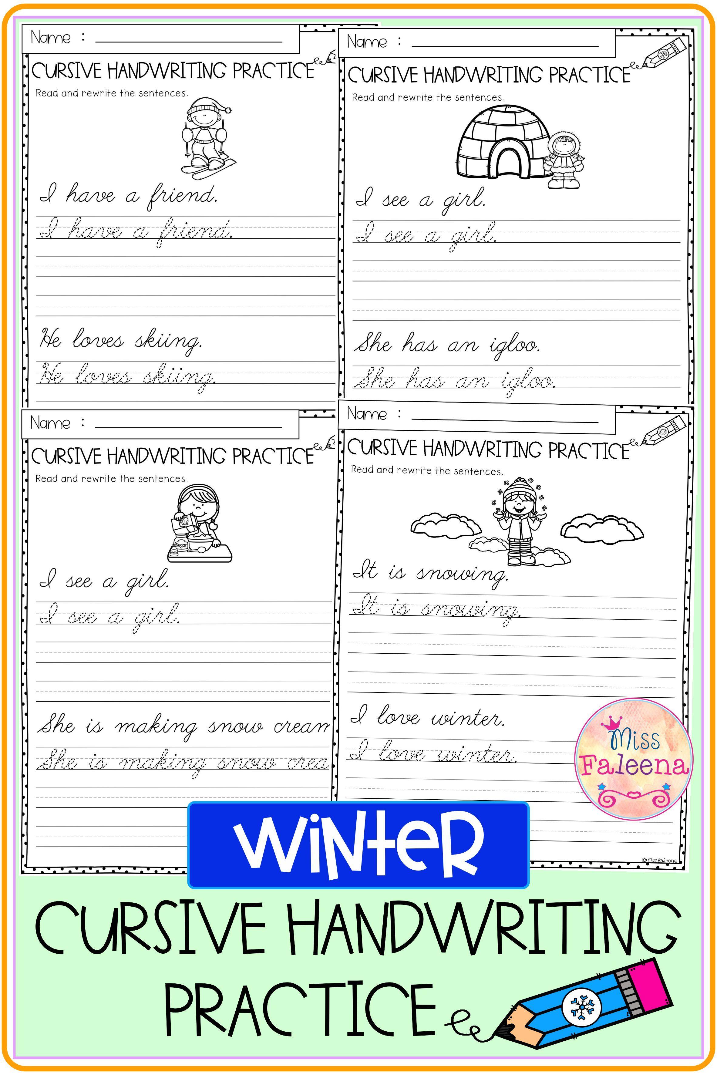 Winter Cursive Handwriting Practice [ 3544 x 2364 Pixel ]