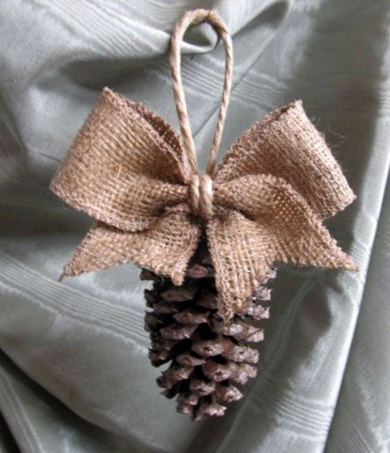 a burlap and pinecone ornament with twine for Christmas | Diy christmas tree ornaments ...