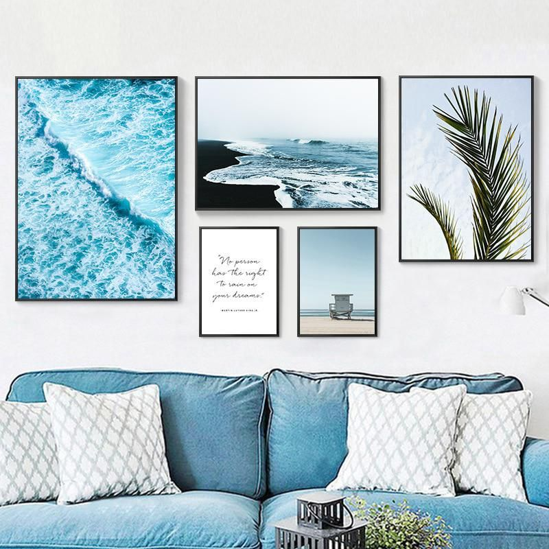 Tropical Ocean Waves Palm Tree Leaf Poster Seascape Nordic Canvas Wall Art Print