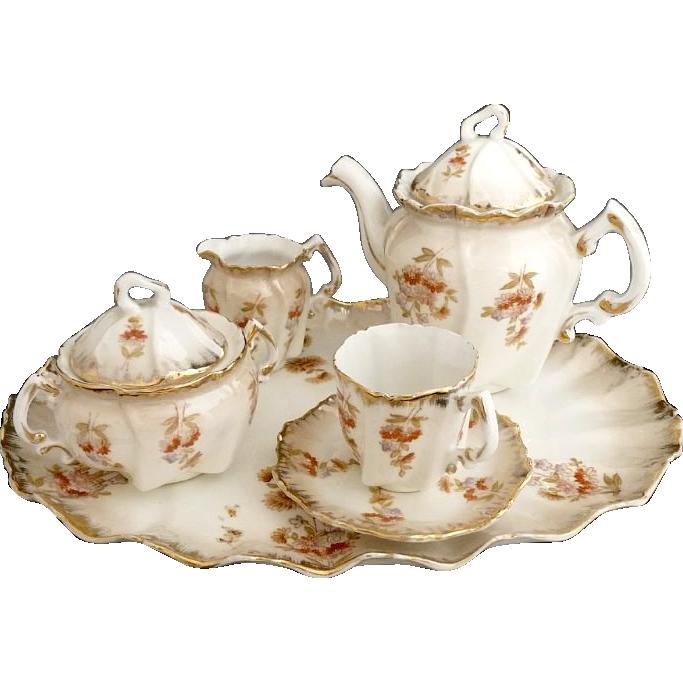 Antique Porcelain Tea Set Small Breakfast Petit De Jeurner Austria C 1880s Miniature Tea Set Tea Set Tea Pots Vintage