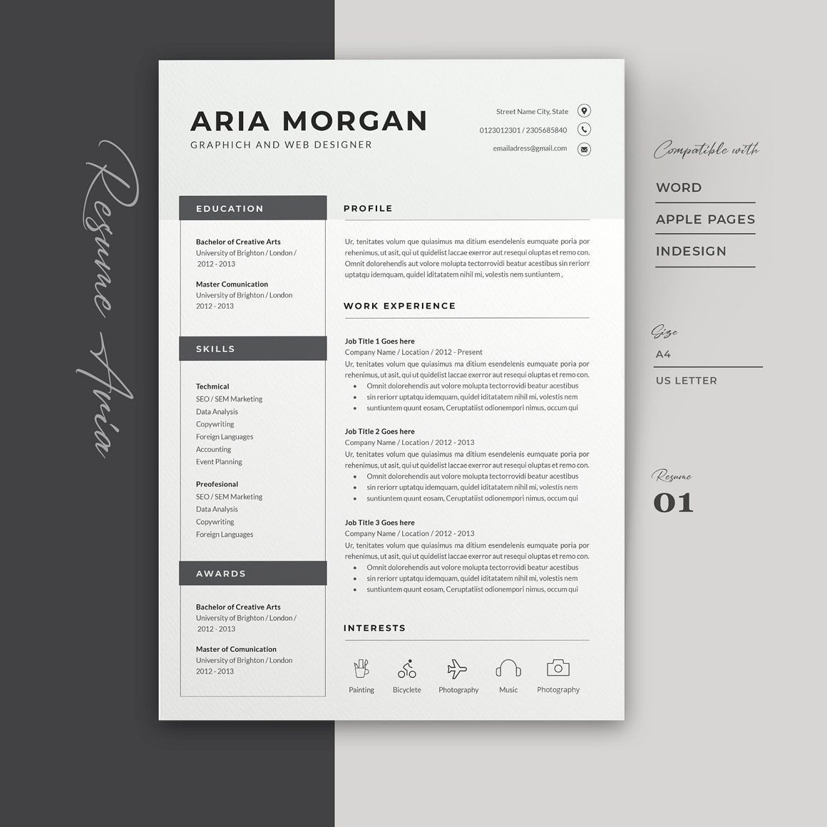 Word Resume template. A CV Resume for your job application