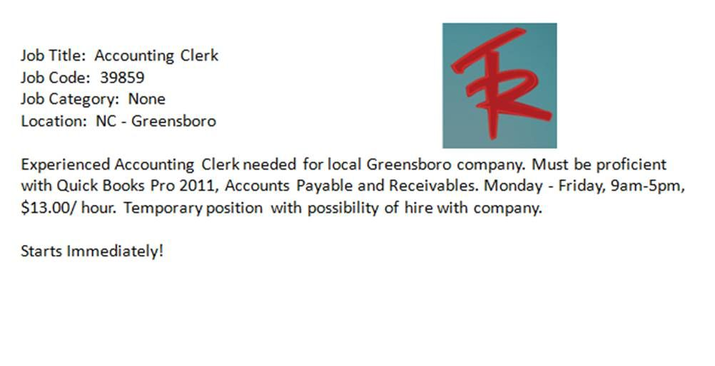 Accounting Clerk Needed In The Greensboro Area  Triad Nc Jobs