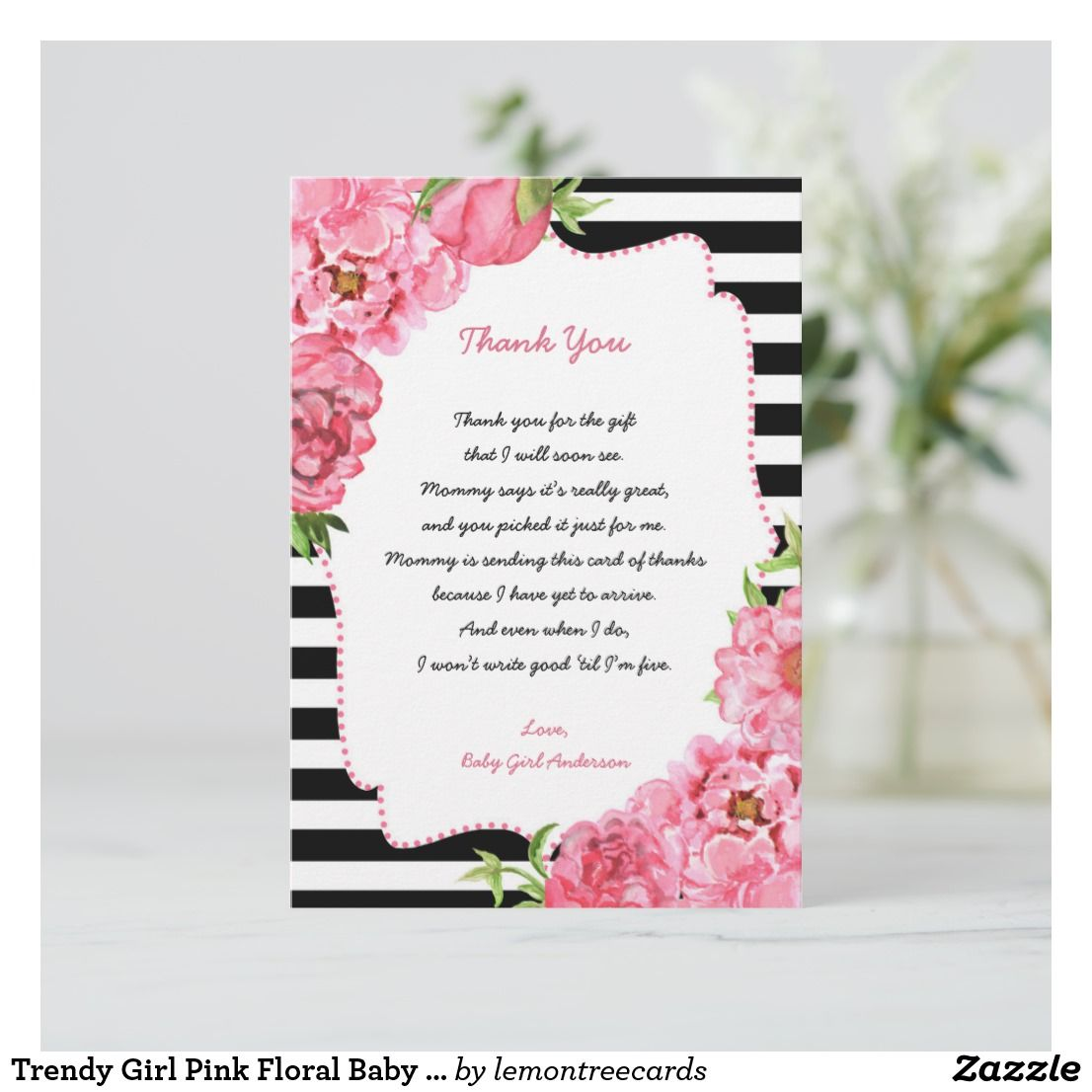 trendy girl pink floral baby shower thank you note baby shower
