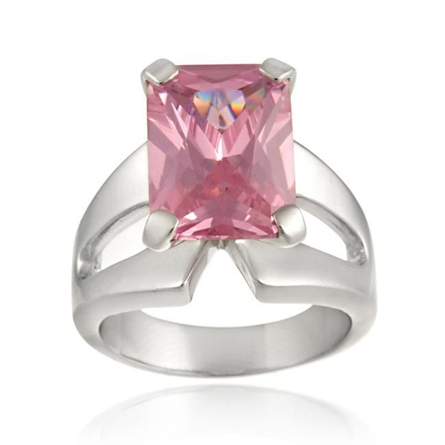 Icz Stonez Sterling Silver Light Pink Cubic Zirconia Ring (Size 10), Women's, White