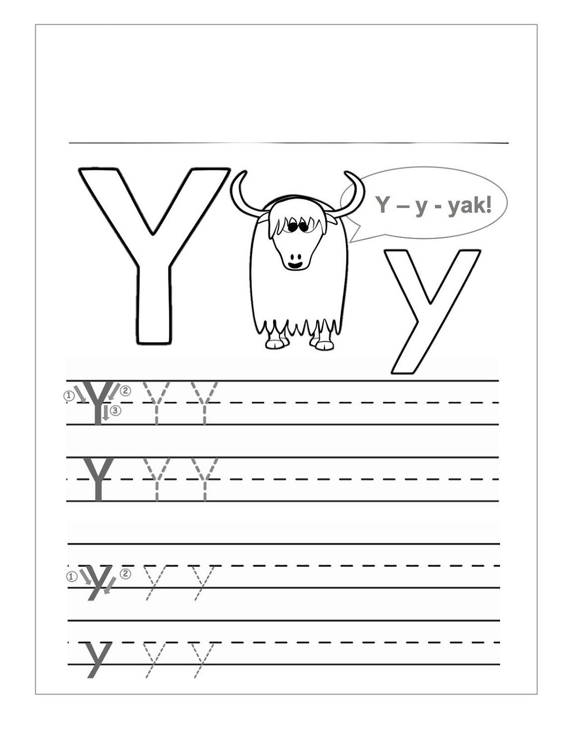 Letter Y Worksheets In