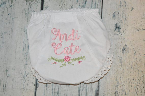 df2b1a60c Monogram Baby Bloomers with Flowers