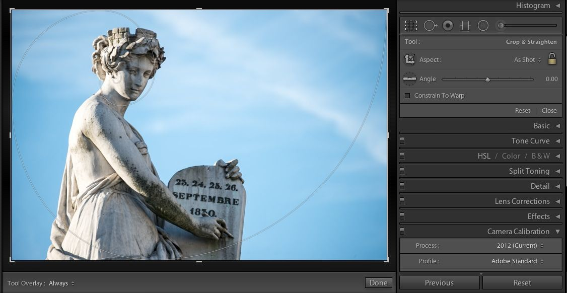 Lightroom has some builtin tools to help with cropping