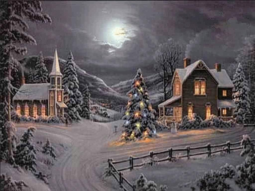 Christmas house with snow art - Winter Snow Night Houses Fantasy Christmas