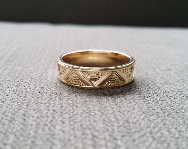 Art Deco Mens Wedding Band Ring Pattern Antique Unique Egyptian