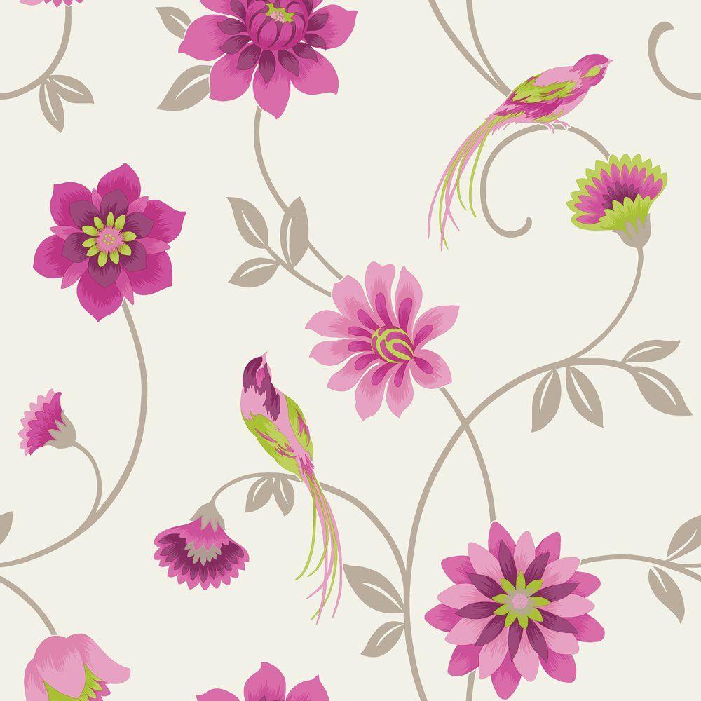 Fine Decor Eden Bird Wallpaper Cream   Green   Pink. Fine Decor Eden Bird Wallpaper Cream   Green   Pink   Style