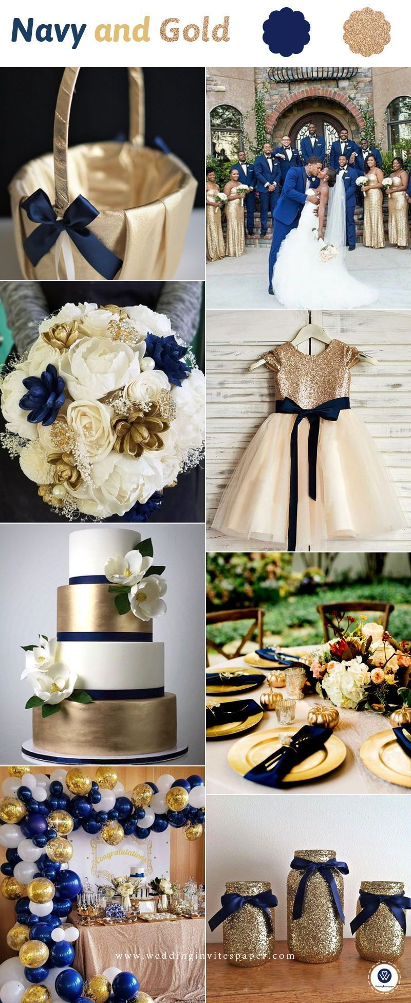Top 8 Striking Navy Blue Wedding Color Palettes for 2019 Fall—navy blue and gold, wedding d…