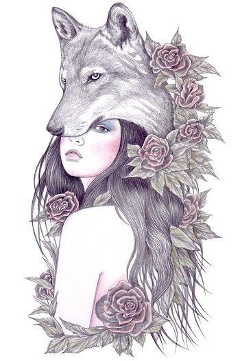 Aullido De Bosque Y Noche En Los Dibujos De Andrea Hrnjak Ilustracion Lobo Tatuajes De Chica Lobo Arte De Mascotas