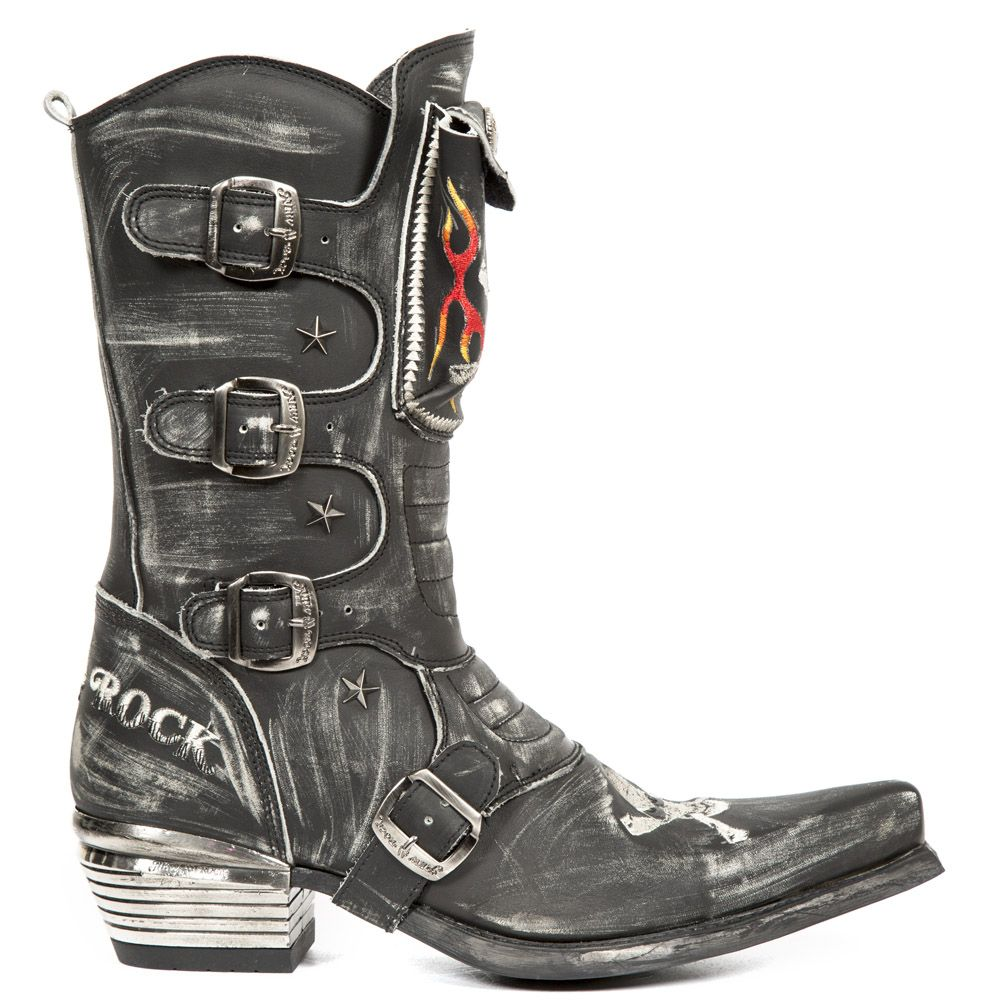 Rock Boots Cowboy Black Leather Boots 022 Boots New Biker
