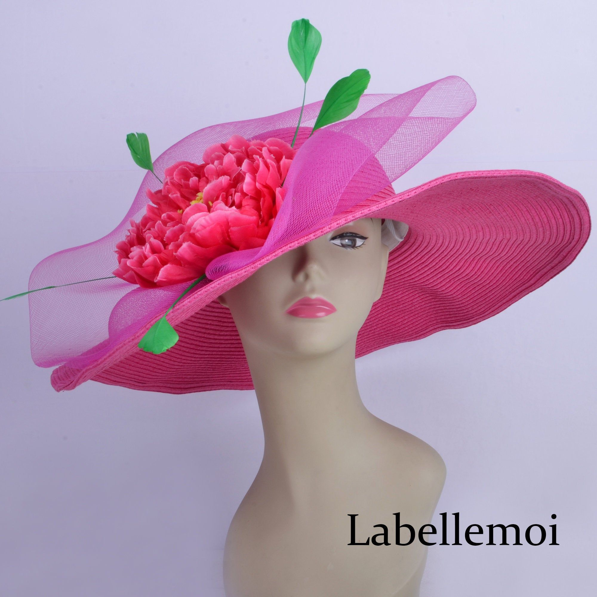 Exclusive design fuschia hot pinkgreen derby hat large