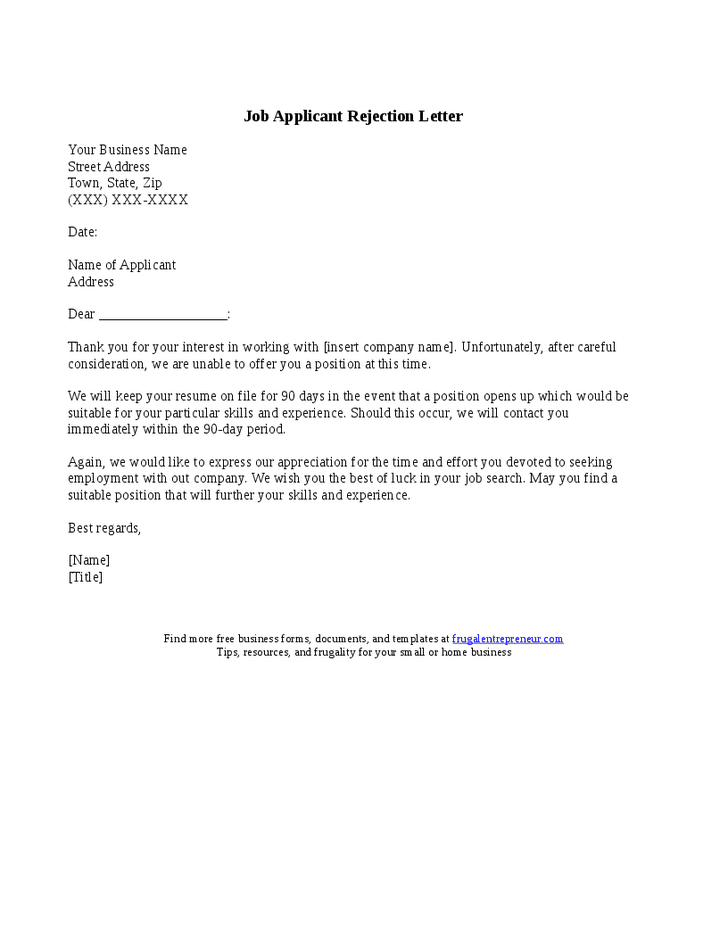 Applicant Rejection Letter Samples  Application Letters  How