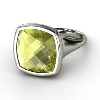 Naked Cushion Bezel Ring, Cushion Checkerboard Lemon Quartz  Sterling Silver Ring from Gemvara