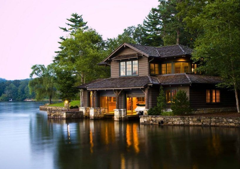 N c lake house combines southern charm adirondack style for Lakefront cottage plans canada