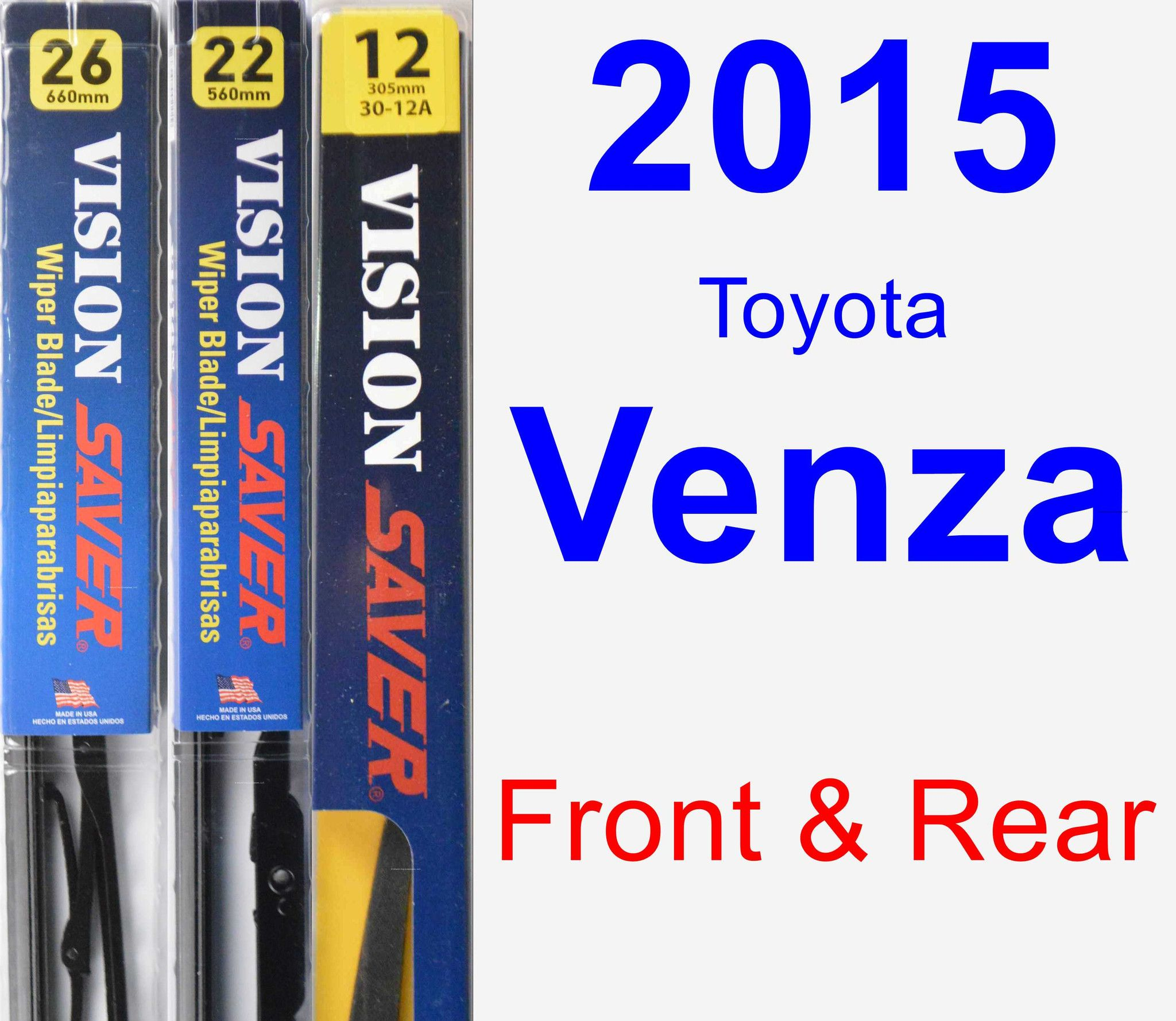 Front & Rear Wiper Blade Pack For 2015 Toyota Venza