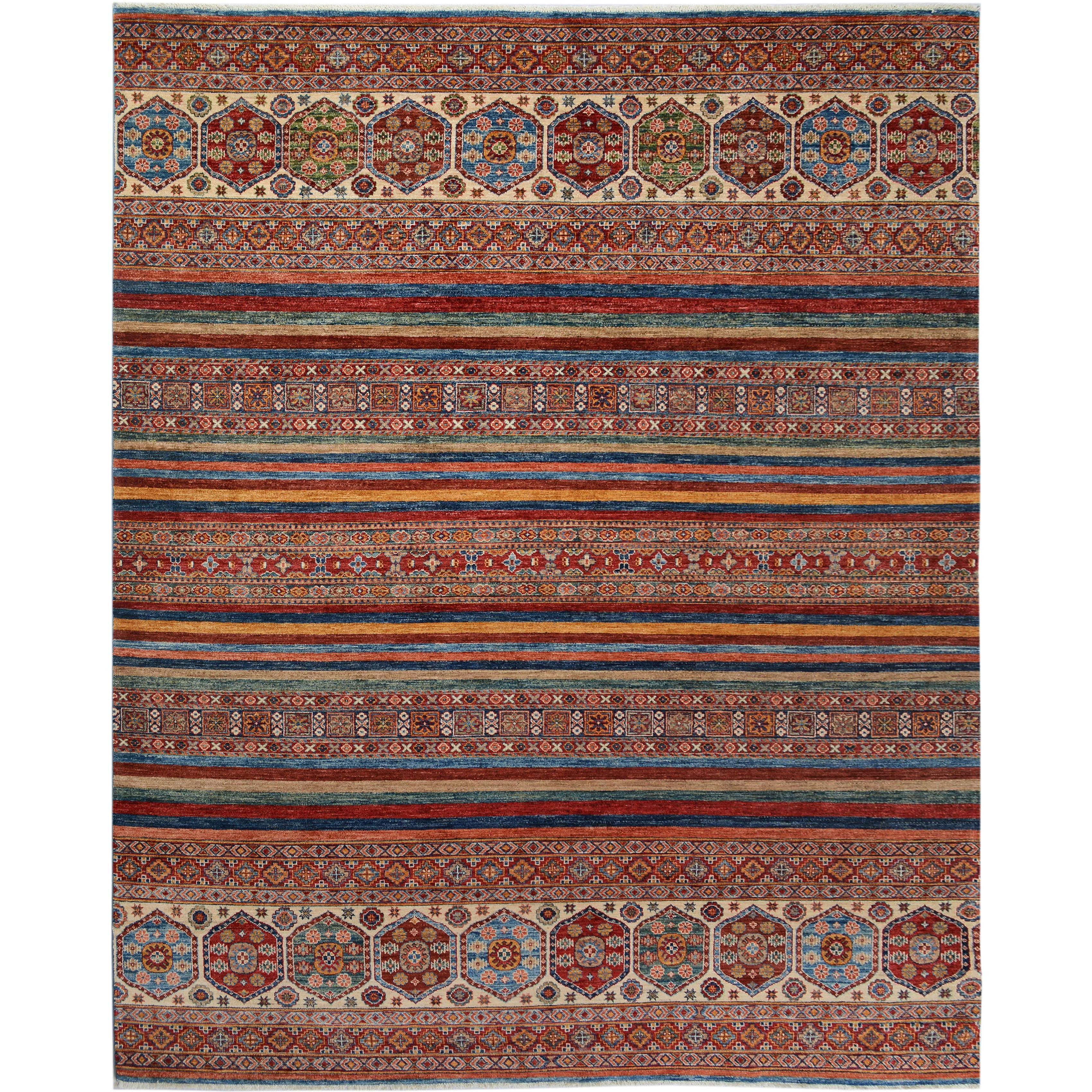 Hand-Knotted Kurjean Arya Collection Cleo Red/Blue Wool Rug (8'2 x 10'4)