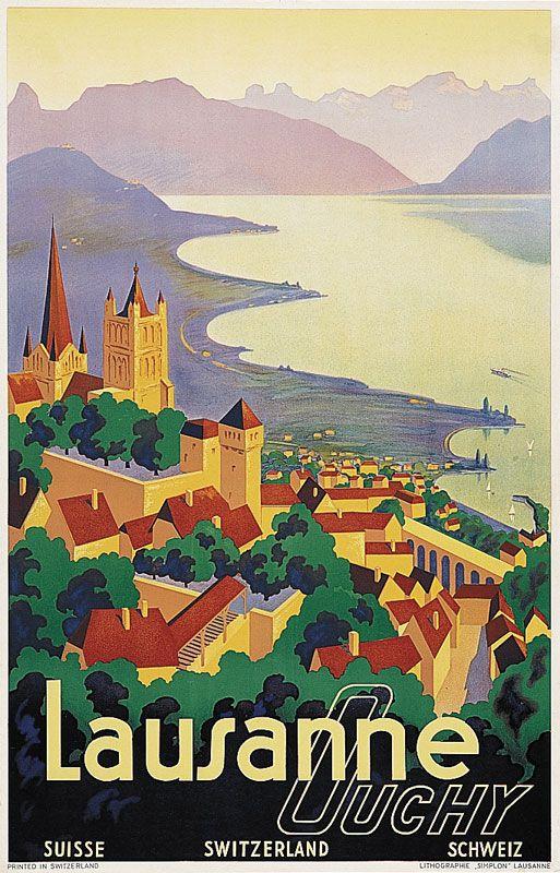 "24/""x36/"" Art on Canvas Vintage Travel Art Davos lakeside beach Switzerland"