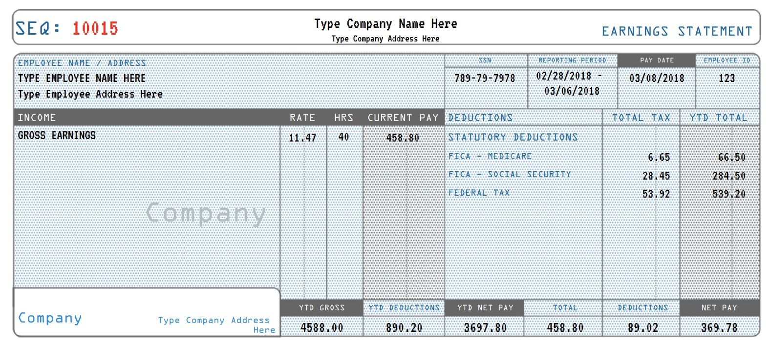 Real Paycheck Stubs Generate Your Real Check Stub Payroll Template Paycheck Letter Of Employment
