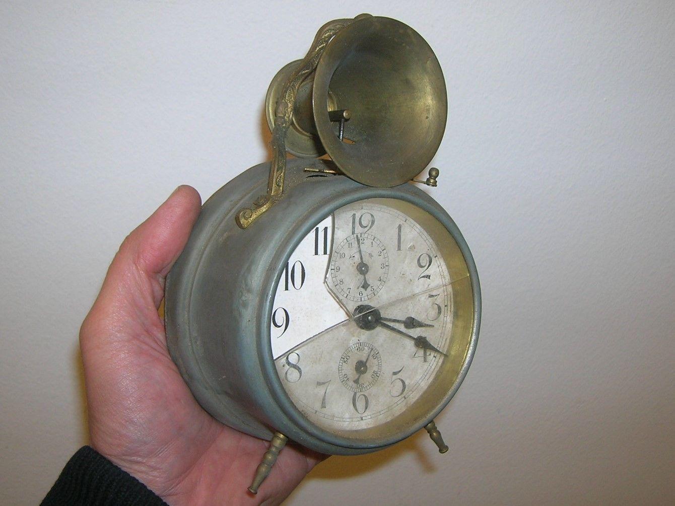 Uralter Ausgefallener Pfeilkreuz Trompeten Wecker Alarm Wecker Ca 1890 1910 Antiquitäten Kunst Mobiliar Interieur Uhren Ebay Wecker Ebay Pfeil
