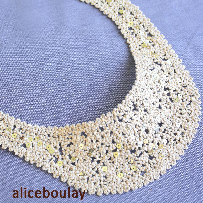 Mercerie encolure paillettée en coton pour adulte : Déco, Customisation Textile par alice-boulay