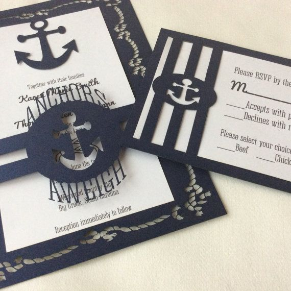 Nautical Theme Laser Cut Wedding Invitation Par Decorateyourbigday