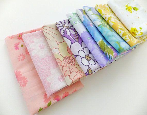 Retro Fabrics 9 Fat Quarters Rainbow Fabric by PeonyandThistle