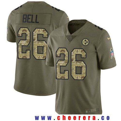 Men's Pittsburgh Steelers #26 Le'Veon Bell Nike Olive Salute To Service Limited Jersey