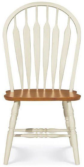 Windsor Dining Chair Solid Wood Arrow Back Style Pearl Oak