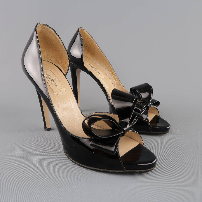 adf9368c57e VALENTINO Size 8 Black Patent Leather Bow D Orsay Platform Pumps
